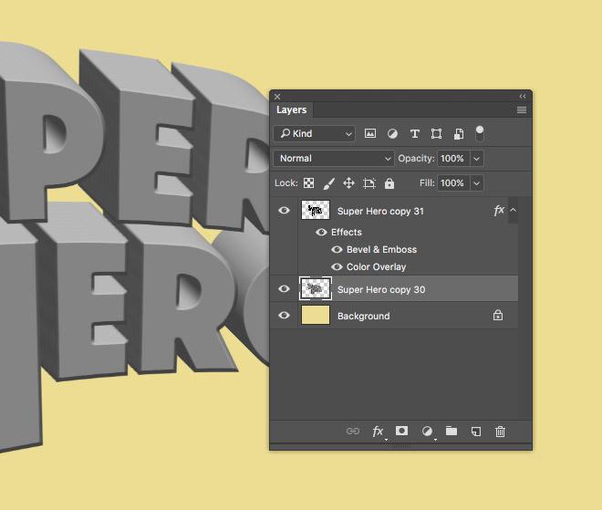 Each New Layer Is Offset By 1px To Create A 3D Appearance As The Bevel And Emboss Shading Layered Up Keep Pressing Shortcut Produce 31 Layers