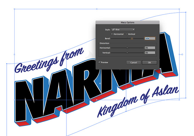 How to create a vintage style large letter postcard design select all using the cmda shortcut then navigate to object envelope distort make with warp change the style dropdown menu to rise with a bend of 30 m4hsunfo