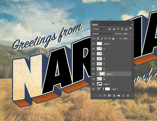 How to create a vintage style large letter postcard design copy and paste the photograph into the postcard document and position the layer above the first letter hold the alt key and click between the two layers m4hsunfo