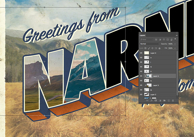 How to create a vintage style large letter postcard design and paste it into the smart object of the photograph document to apply the painting effect filters copy the updated image into the postcard document m4hsunfo