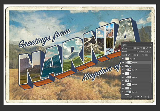 How to create a vintage style large letter postcard design copy the updated image into the postcard document and position it above the next letter layer apply a clipping mask and position the image to suit m4hsunfo