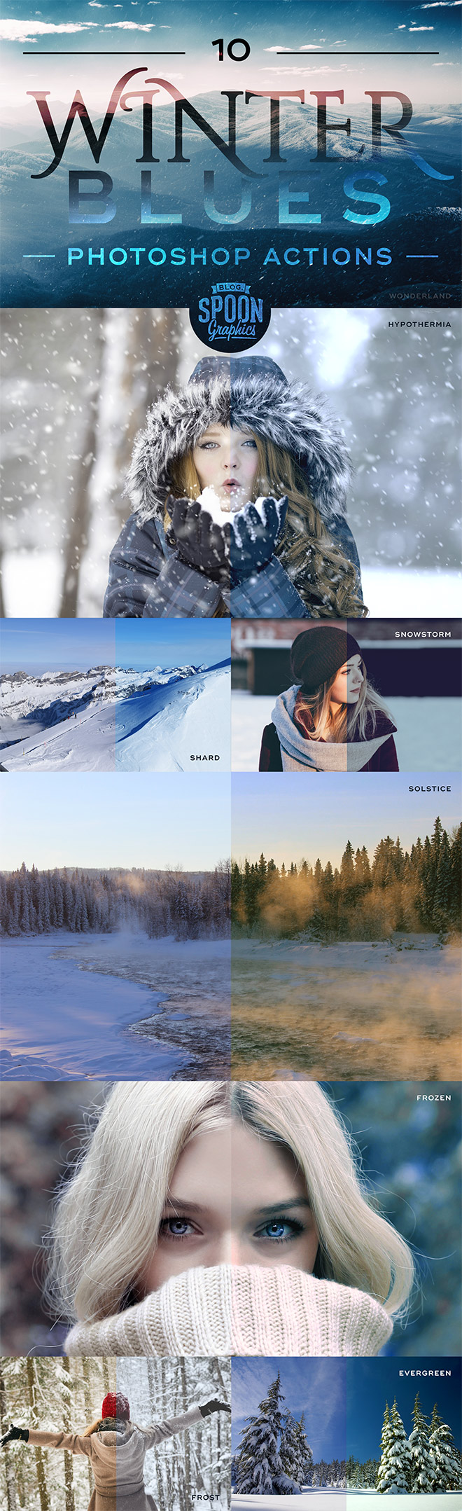 Free Winter Blues Photoshop Actions