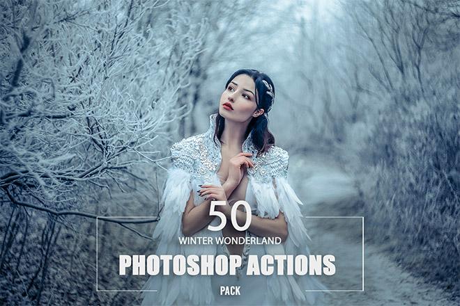 50 Winter Wonderland Photoshop Actions