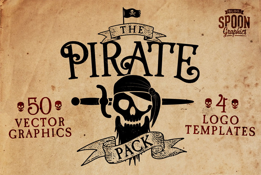 free pirate vector graphics logo templates pack