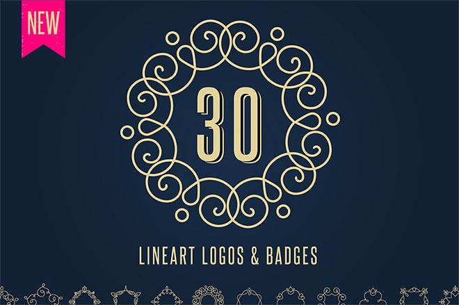 30 Lineart Logos, Badges & Frames