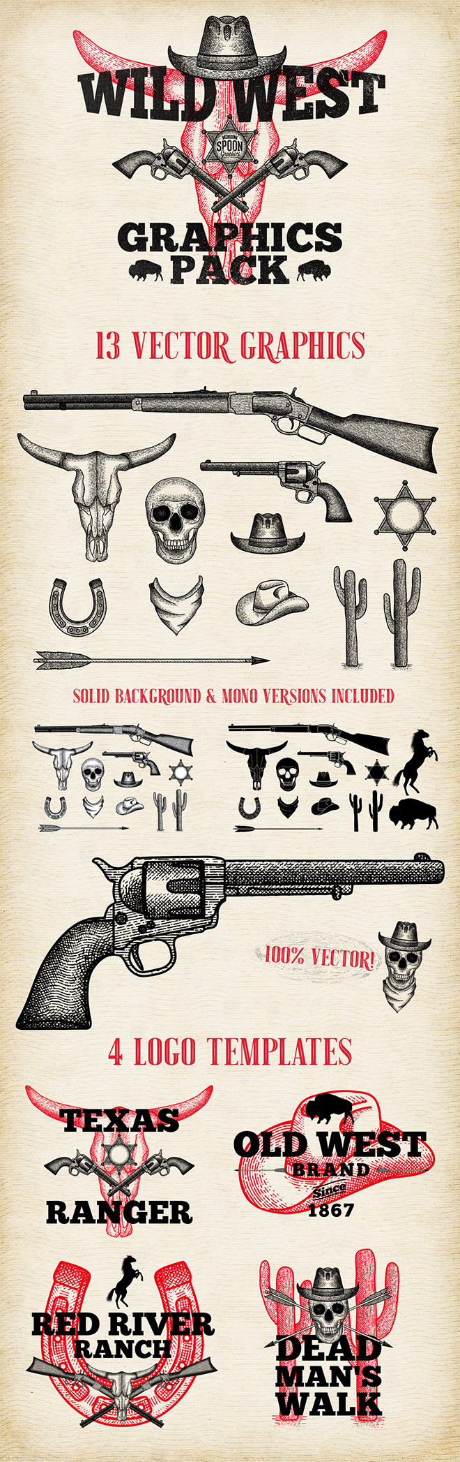 free wild west vector graphics logo templates pack