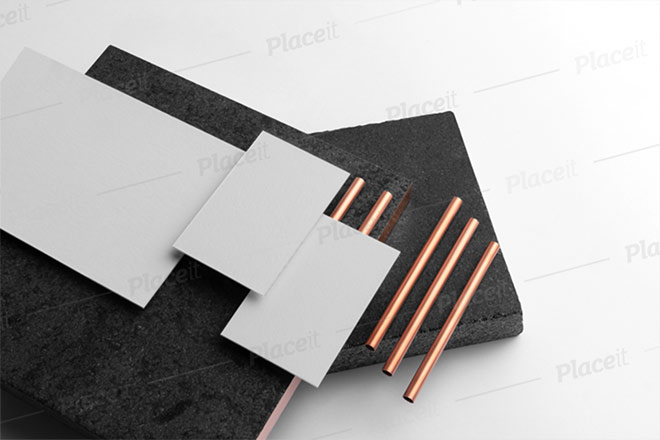 A6 Letterhead Mockup Featuring Two Business Cards