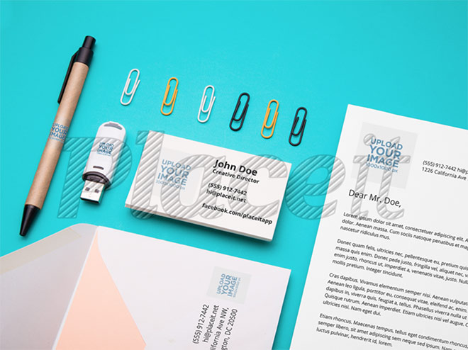 Branding Mockup Featuring an Assortment of Stationery