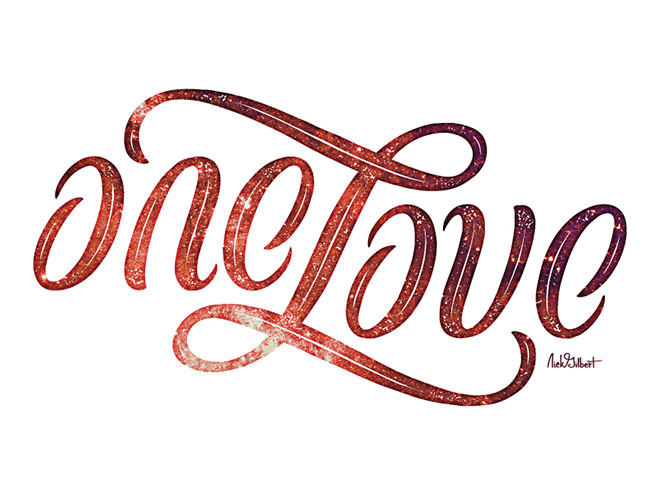 One Love Ambigram by Nicholas Gilbert