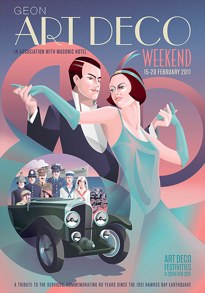 Art Deco Weekend Posters by Stephen Fuller