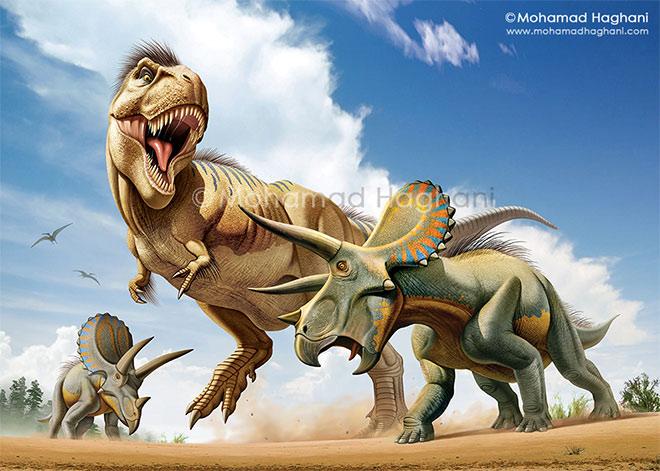 Tyrannosaurus-Rex vs Triceratops by Mohamad Haghani
