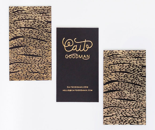 Gold Foiled Business Cards by Cait Goodman