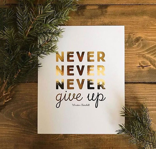 Never Never Never Give Up by Victoria Senges