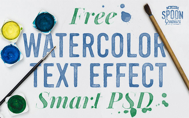 Free Watercolour Text Effect Smart PSD for Adobe Photoshop