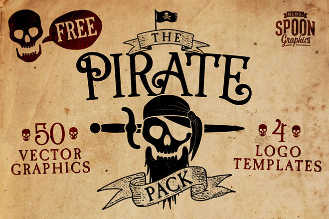 Free Pirate Vector Graphics & Logo Templates Pack