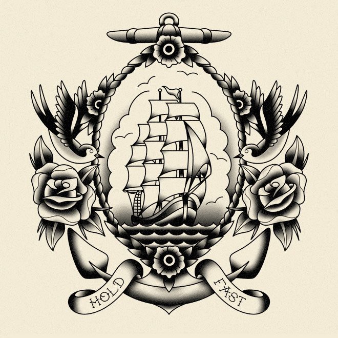 Sailor Tattoo Shirt Designs by Sebastian Mellen