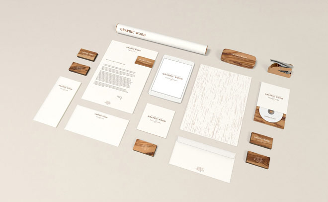 Stationery Mockup Wood Edition