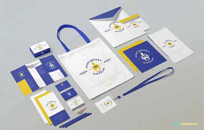 Free Business Stationery Mockup Scene