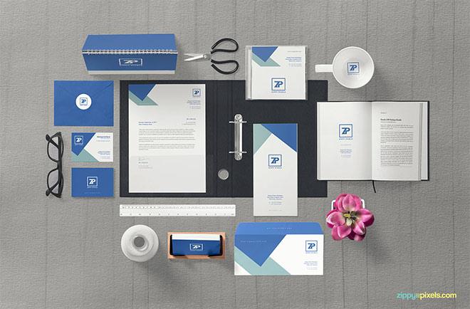 Free Impressive Corporate Identity Mockup Scene