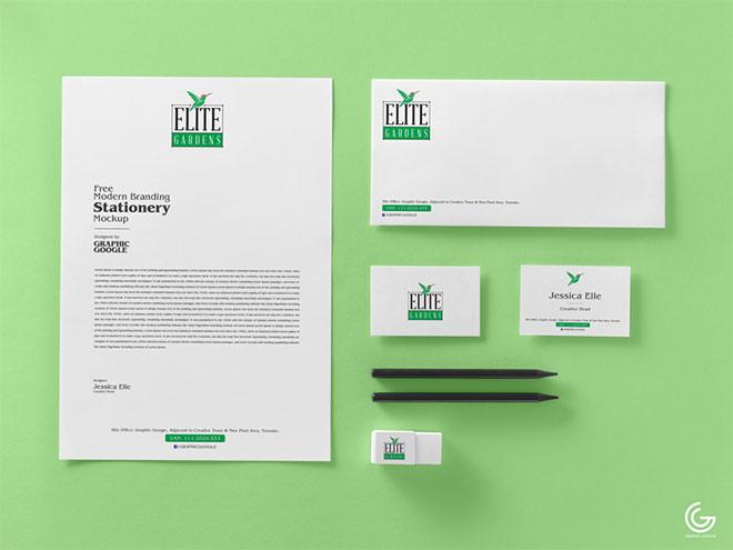 Free Modern Branding Stationery Mockup