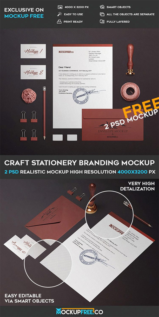 Craft Stationery Branding Mockup