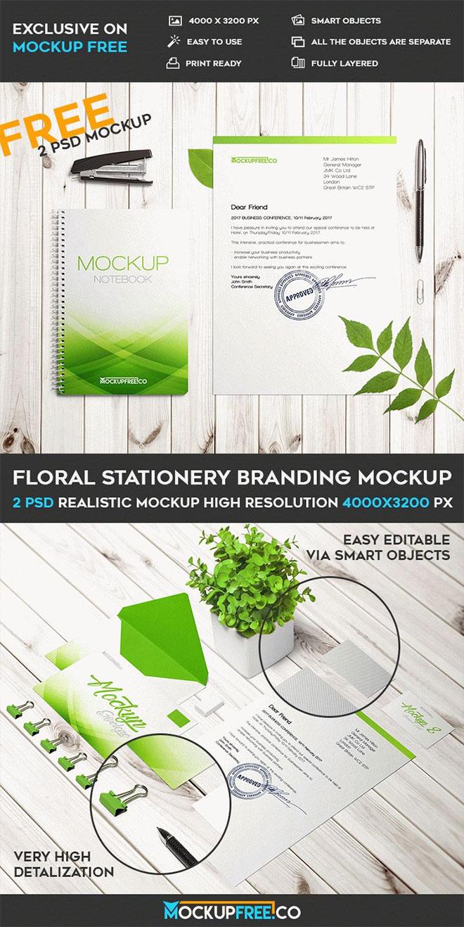 Floral Stationery Branding Mockups