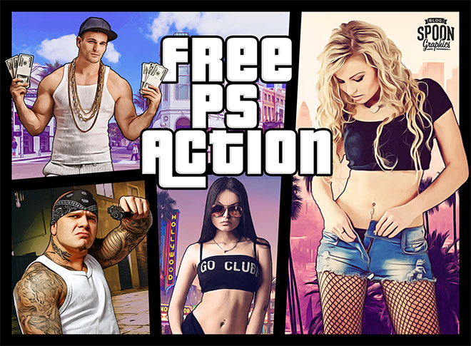 Free GTA Effect Photoshop Action