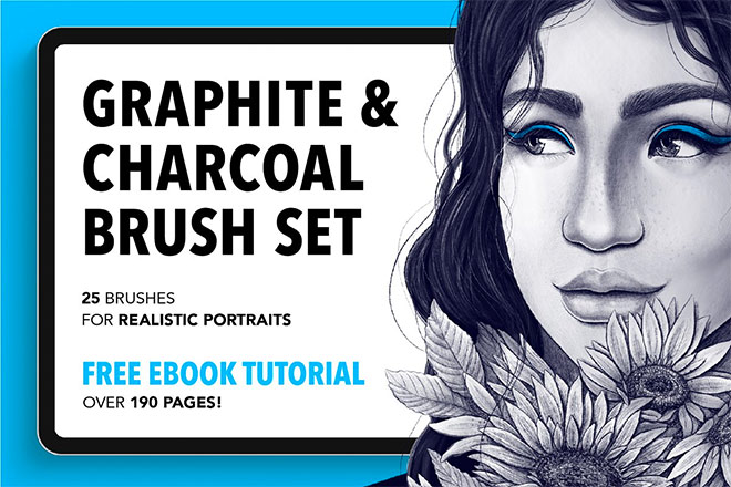 Graphite & Charcoal Brush Set by Riveros Illustration