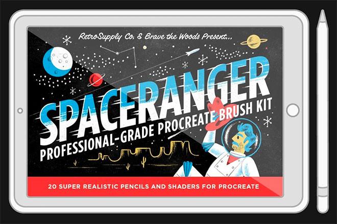 Space Ranger Brush Pack for Procreate by RetroSupply ($19)