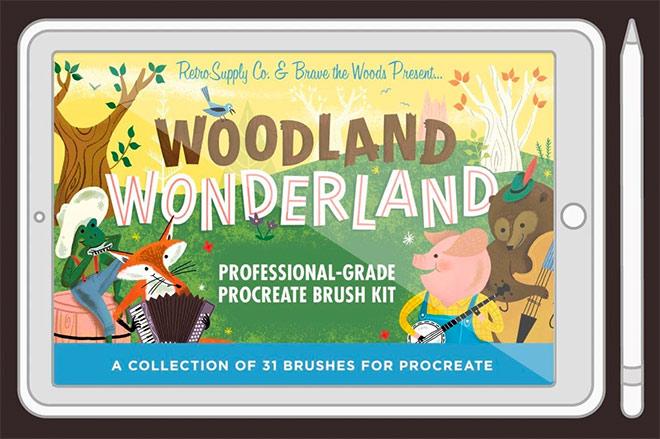 Woodland Wonderland Brush Pack for Procreate by RetroSupply ($19)