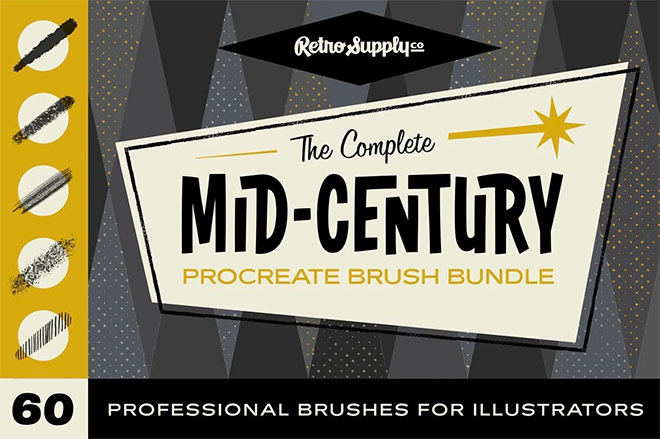 The Complete Mid-Century Procreate Brush Collection by RetroSupply ($49)