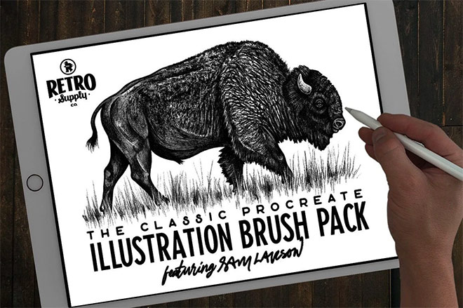 The Classic Procreate Illustration Brush Pack by RetroSupply ($19)