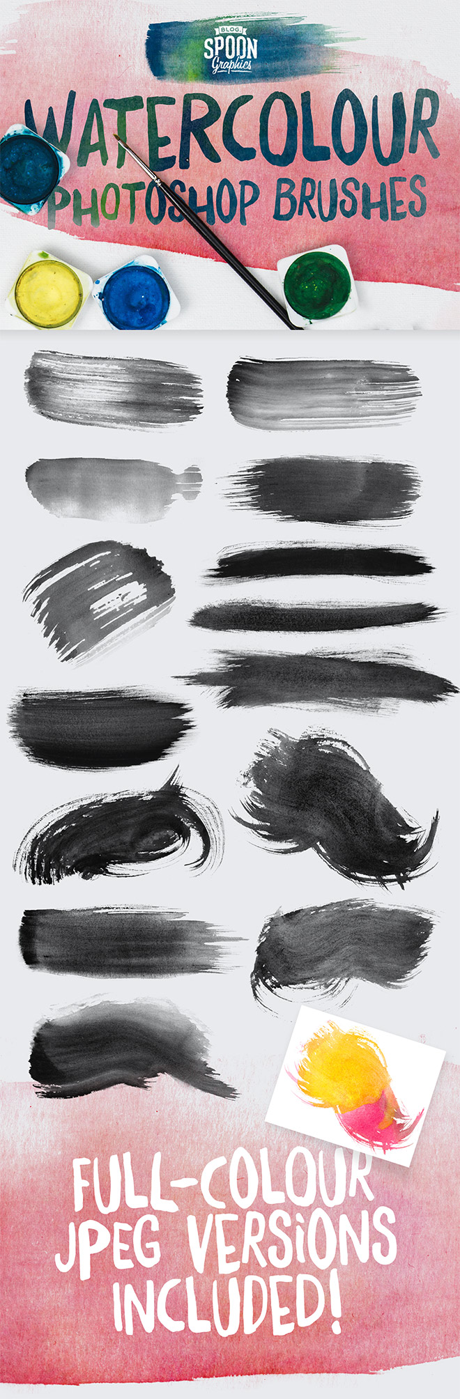 14 Free Watercolour Brushes for Adobe Photoshop
