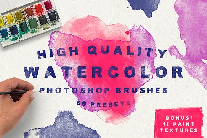 Watercolor Brushes & Bonus Textures