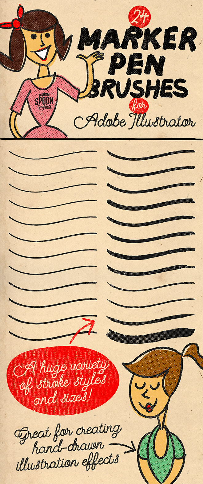 Free Pack of 24 Marker Pen Brushes for Adobe Illustrator