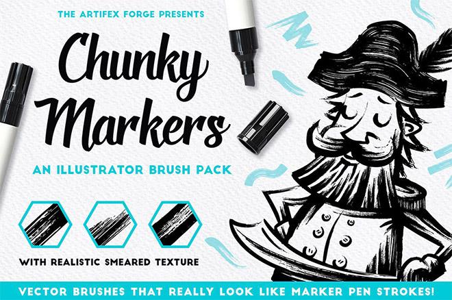 Chunky Markers – Illustrator Brushes