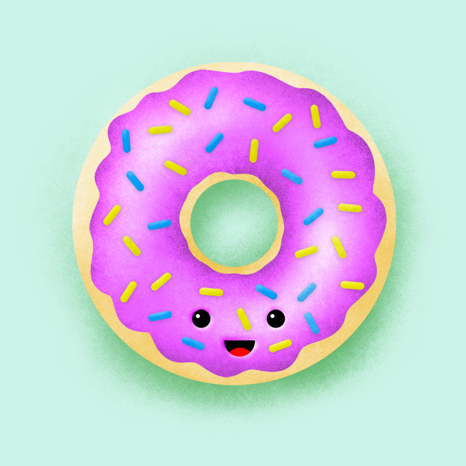 Donut Illustration with Grainy Shading Photoshop Tutorial