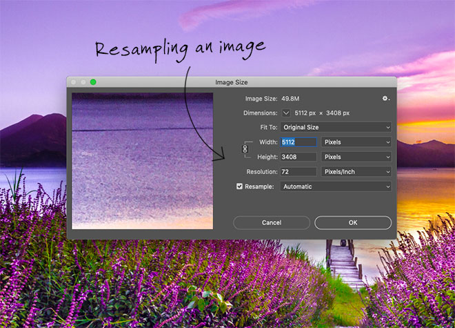 Resizing an image in Photoshop