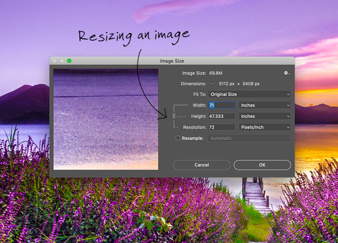 Resampling an image in Photoshop
