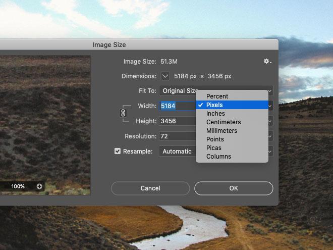 Photoshop Image Size window
