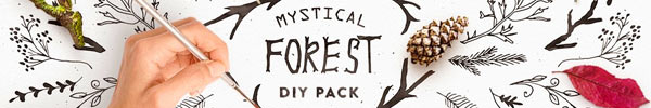 Mystical Forest Hand-Sketched Elements & Logo Templates for Premium Members