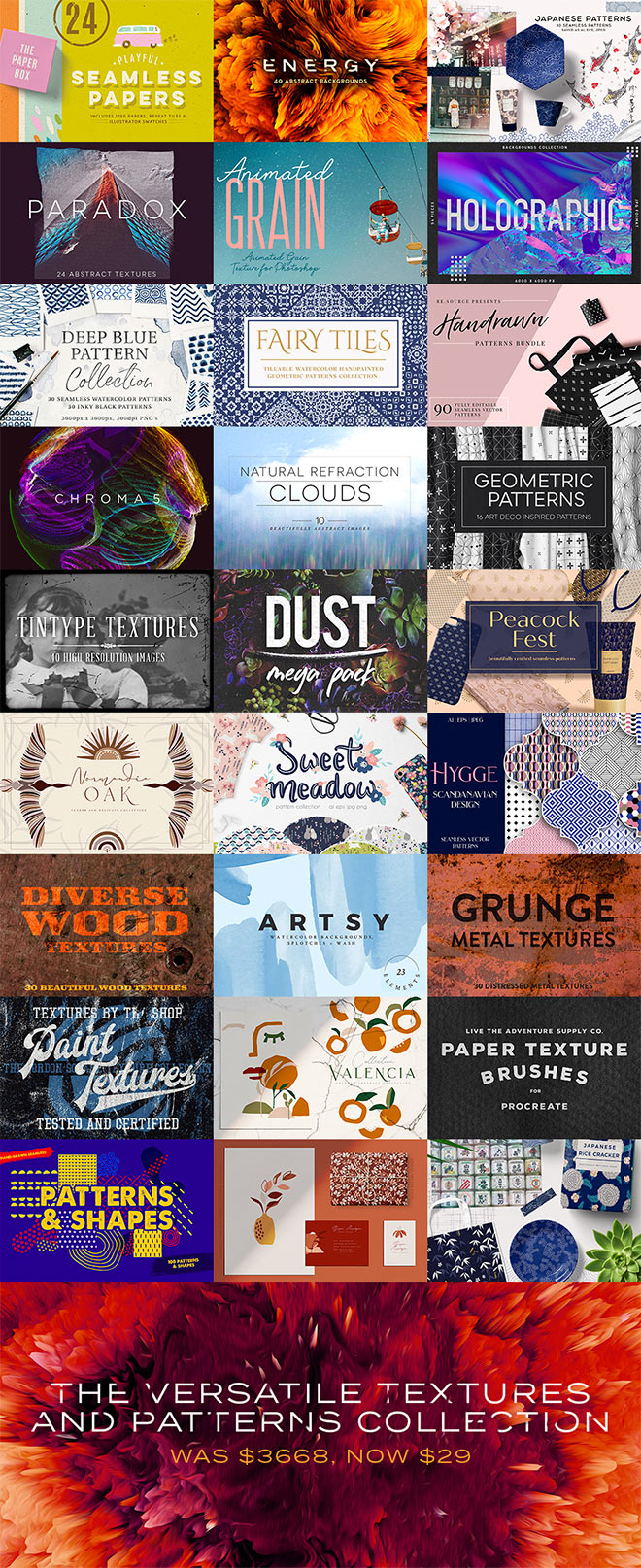 A Versatile Collection of Textures & Patterns to Cover Any Project