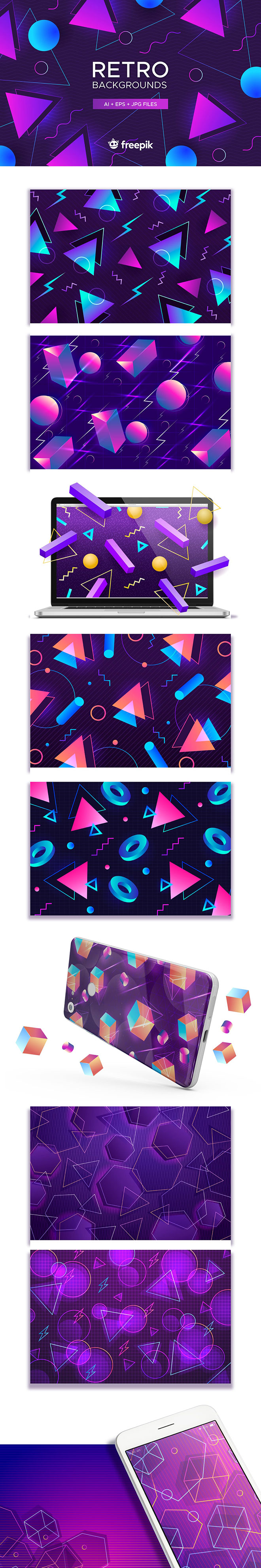 10 Retro Abstract Backgrounds for Premium Members