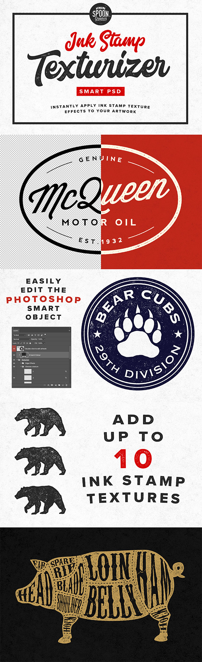 Free Ink Stamp Texturizer Smart PSD for Adobe Photoshop