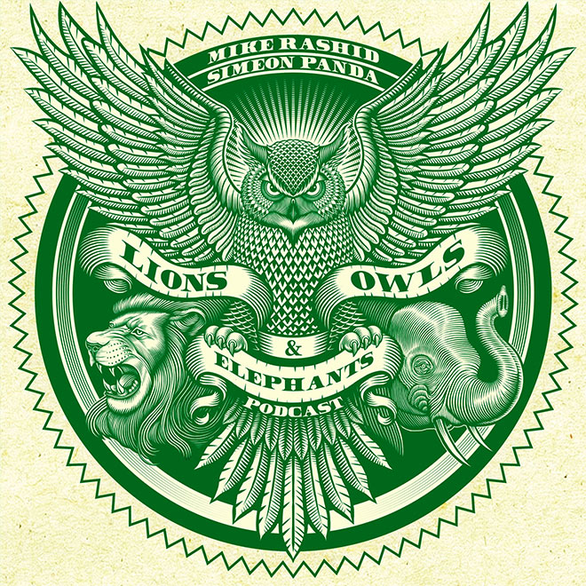 Lions, Owl & Elephants by Curtis Illustration