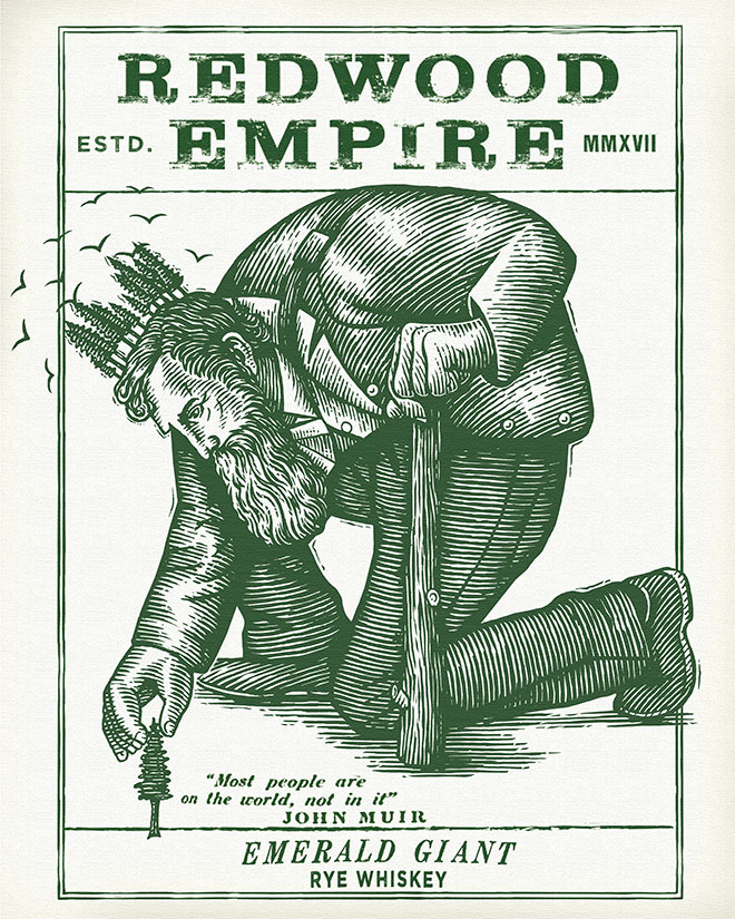 Redwood Empire Whiskey Label by Steven Noble