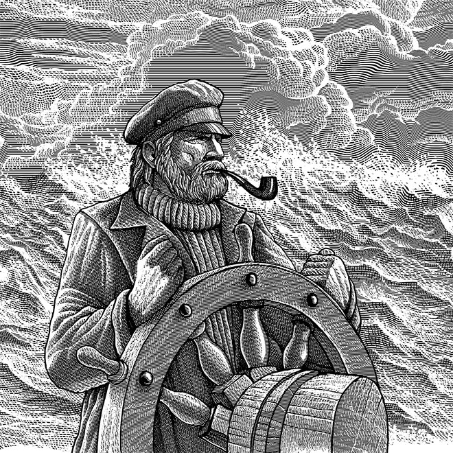 Engraving Art Captain by Vadim Briksin