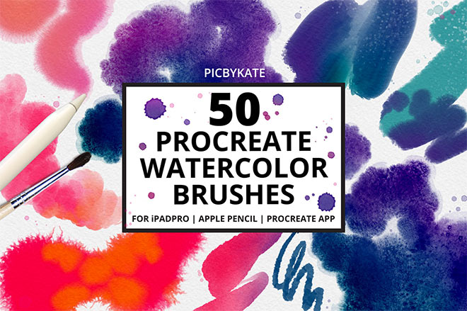 50 Procreate Watercolor Brushes by PicByKate ($18)