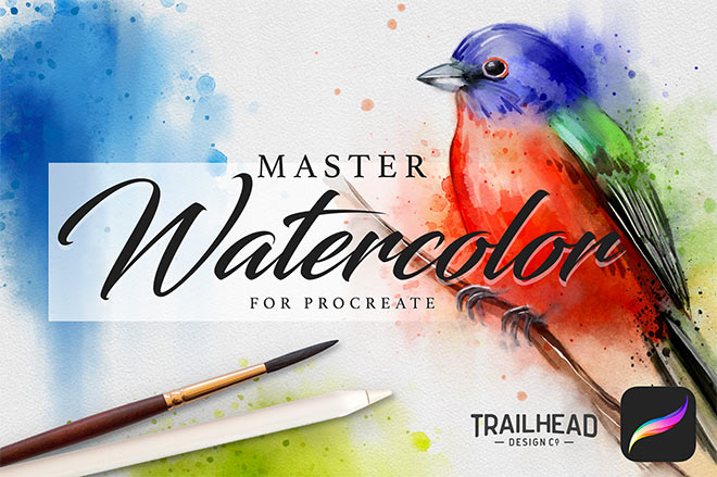 Master Watercolor Procreate Brushes by Trailhead Design Co. ($14)