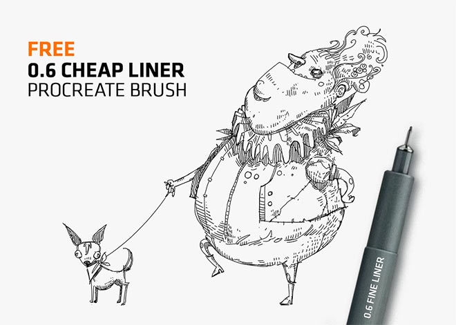 Cheap Fine-Liner Brush for Procreate app by Frankentoon ($0+)